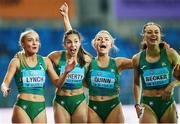 2 May 2021; The Ireland women's relay team, from left, Aoife Lynch, Kate Doherty, Sarah Quinn and Sophie Becker celebrate after finishing second in their 4x200 metre final during the IAAF World Athletics Relays at the Merchant Slaski Stadium in Chorzow, Poland. Photo by Radoslaw Jozwiak/Sportsfile