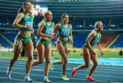 2 May 2021; The Ireland women's relay team, from left, Sophie Becker, Aoife Lynch, Kate Doherty and Sarah Quinn after finishing second in their 4x200 metre final during the IAAF World Athletics Relays at the Merchant Slaski Stadium in Chorzow, Poland. Photo by Radoslaw Jozwiak/Sportsfile