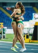 2 May 2021; The Ireland women's relay team, members Sophie Becker, right, and Kate Doherty celebrate after finishing second in their 4x200 metre final during the IAAF World Athletics Relays at the Merchant Slaski Stadium in Chorzow, Poland. Photo by Radoslaw Jozwiak/Sportsfile
