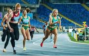 2 May 2021; Sarah Quinn of Ireland, right, competing in the 4x200 metre final during the IAAF World Athletics Relays at the Merchant Slaski Stadium in Chorzow, Poland. Photo by Radoslaw Jozwiak/Sportsfile