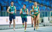 2 May 2021; The Ireland team, from left, Andrew Mellon, Chris O'Donnell, Phil Healy, hidden, and Sharlene Mawdsley make their way on to the track before the mixed 4x400 metre final during the IAAF World Athletics Relays at the Merchant Slaski Stadium in Chorzow, Poland. Photo by Radoslaw Jozwiak/Sportsfile