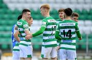 3 May 2021; Gary O'Neill of Shamrock Rovers, left, is congratulated by team-mates after scoring their side's second goal during the SSE Airtricity League Premier Division match between Shamrock Rovers and Waterford at Tallaght Stadium in Dublin. Photo by Seb Daly/Sportsfile
