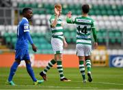 3 May 2021; Rory Gaffney of Shamrock Rovers, left, is congratulated by team-mate Danny Mandroiu after scoring their side's first goal during the SSE Airtricity League Premier Division match between Shamrock Rovers and Waterford at Tallaght Stadium in Dublin. Photo by Seb Daly/Sportsfile
