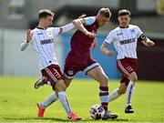3 May 2021; Killian Phillips of Drogheda United in action against Tyreke Wilson, left, and Keith Buckley of Bohemians during the SSE Airtricity League Premier Division match between Drogheda United and Bohemians at Head in the Game Park in Drogheda, Louth. Photo by Sam Barnes/Sportsfile