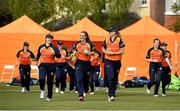 2 May 2021; Scorchers captain Gaby Lewis leads her side out before the Arachas Super 50 Cup 2021 match between Typhoons and Scorchers at Pembroke Cricket Club in Dublin. Photo by Seb Daly/Sportsfile