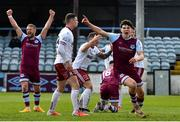 3 May 2021; James Clarke of Drogheda United, right, celebrates after scoring a late equaliser during the SSE Airtricity League Premier Division match between Drogheda United and Bohemians at Head in the Game Park in Drogheda, Louth. Photo by Sam Barnes/Sportsfile