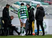 3 May 2021; Neil Farrugia of Shamrock Rovers in conversation with manager Stephen Bradley after leaving the pitch with an injury during the SSE Airtricity League Premier Division match between Shamrock Rovers and Waterford at Tallaght Stadium in Dublin. Photo by Seb Daly/Sportsfile