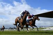 3 May 2021; Lunar Space, with Kevin Manning up, lead Magnanimous, with Gary Halpin up, on their way to winning the Dick McCormick Irish EBF Tetrarch Stakes at The Curragh Racecourse in Kildare. Photo by Harry Murphy/Sportsfile
