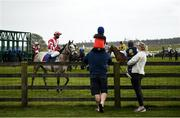 3 May 2021; A family looks on as Wee Pablo, with Dylan McMonagle up, prepares to run in the AES Bord na Mona Apprentice Handicap at The Curragh Racecourse in Kildare. Photo by Harry Murphy/Sportsfile