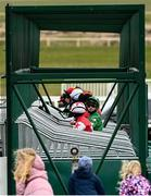 3 May 2021; Jockey Mikey Sheehy speaks with Dylan McMonagle as young punters look on before the AES Bord na Mona Apprentice Handicap at The Curragh Racecourse in Kildare. Photo by Harry Murphy/Sportsfile