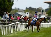 3 May 2021; Jockey Rory Cleary, riding The Blue Garter, speaks to punters at the start of the Sentinel Ireland Handicap at The Curragh Racecourse in Kildare. Photo by Harry Murphy/Sportsfile