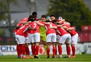 3 May 2021; Sligo Rovers players huddle before the SSE Airtricity League Premier Division match between Sligo Rovers and St Patrick's Athletic at The Showgrounds in Sligo. Photo by Eóin Noonan/Sportsfile