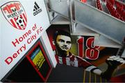 3 May 2021; A recently painted mural in tribute to the late Derry City player Mark Farren at the tunnel area of the Ryan McBride Brandywell Stadium before the SSE Airtricity League Premier Division match between Derry City and Finn Harps at Ryan McBride Brandywell Stadium in Derry. Photo by Stephen McCarthy/Sportsfile