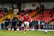 3 May 2021; Jordan Gibson of Sligo Rovers scores his side's first goal from a penalty during the SSE Airtricity League Premier Division match between Sligo Rovers and St Patrick's Athletic at The Showgrounds in Sligo. Photo by Eóin Noonan/Sportsfile