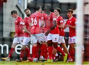 3 May 2021; Jordan Gibson of Sligo Rovers, second from right, celebrates with team-mates after scoring his side's first goal during the SSE Airtricity League Premier Division match between Sligo Rovers and St Patrick's Athletic at The Showgrounds in Sligo. Photo by Eóin Noonan/Sportsfile