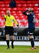 3 May 2021; John Mountney of St Patrick's Athletic reacts as referee Neil Doyle awards a penalty to Sligo Rovers during the SSE Airtricity League Premier Division match between Sligo Rovers and St Patrick's Athletic at The Showgrounds in Sligo. Photo by Eóin Noonan/Sportsfile