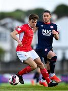 3 May 2021; Niall Morahan of Sligo Rovers in action against Ronan Coughlan of St Patrick's Athletic during the SSE Airtricity League Premier Division match between Sligo Rovers and St Patrick's Athletic at The Showgrounds in Sligo. Photo by Eóin Noonan/Sportsfile