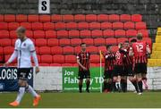 3 May 2021; Longford Town players celebrate their side's first goal, scored by Dylan Grimes, during the SSE Airtricity League Premier Division match between Longford Town and Dundalk at Bishopsgate in Longford. Photo by Ramsey Cardy/Sportsfile
