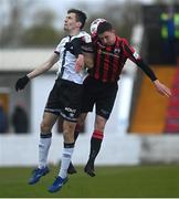 3 May 2021; Raivis Jurkovskis of Dundalk in action against Aaron Robinson of Longford Town during the SSE Airtricity League Premier Division match between Longford Town and Dundalk at Bishopsgate in Longford. Photo by Ramsey Cardy/Sportsfile