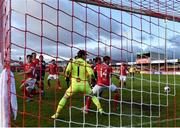 3 May 2021; Sligo Rovers players watch as a headed shot on goal from Ian Bermingham of St Patrick's Athletic goes in during the SSE Airtricity League Premier Division match between Sligo Rovers and St Patrick's Athletic at The Showgrounds in Sligo. Photo by Eóin Noonan/Sportsfile