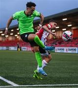 3 May 2021; Will Seymore of Finn Harps in action against Joe Thomson of Derry City during the SSE Airtricity League Premier Division match between Derry City and Finn Harps at Ryan McBride Brandywell Stadium in Derry. Photo by Stephen McCarthy/Sportsfile