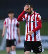 3 May 2021; Daniel Lafferty of Derry City reacts during the SSE Airtricity League Premier Division match between Derry City and Finn Harps at Ryan McBride Brandywell Stadium in Derry. Photo by Stephen McCarthy/Sportsfile