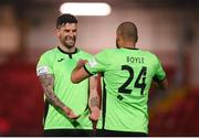 3 May 2021; Adam Foley, left, and Ethan Boyle of Finn Harps celebrate after the SSE Airtricity League Premier Division match between Derry City and Finn Harps at Ryan McBride Brandywell Stadium in Derry. Photo by Stephen McCarthy/Sportsfile