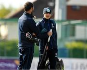 4 May 2021; Lorcan Tucker with Leinster Lightning head coach Nigel Jones before the Inter-Provincial Cup 2021 match between Leinster Lightning and Northern Knights at Pembroke Cricket Club in Dublin. Photo by Matt Browne/Sportsfile