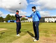 4 May 2021; Northern Knights captain Harry Tector, left, with Leinster Lightning captain George Dockrell at the coin toss before the Inter-Provincial Cup 2021 match between Leinster Lightning and Northern Knights at Pembroke Cricket Club in Dublin. Photo by Matt Browne/Sportsfile
