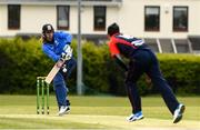 4 May 2021; Jamie Grassi of Leinster Lightning is bowled a delivery by Ruan Pretorius of Northern Knights during the Inter-Provincial Cup 2021 match between Leinster Lightning and Northern Knights at Pembroke Cricket Club in Dublin. Photo by Matt Browne/Sportsfile