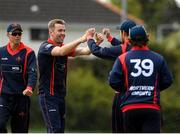 4 May 2021; Graeme McCarter of Northern Knights celebrates with his team-mates after catching out Jack Tector of Leinster Lightning during the Inter-Provincial Cup 2021 match between Leinster Lightning and Northern Knights at Pembroke Cricket Club in Dublin. Photo by Matt Browne/Sportsfile