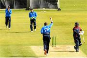 4 May 2021; Peter Chase of Leinster Lightning celebrates after taking the wicket of Paul Stirling of Northern Knights during the Inter-Provincial Cup 2021 match between Leinster Lightning and Northern Knights at Pembroke Cricket Club in Dublin.  Photo by Matt Browne/Sportsfile