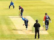 4 May 2021; Peter Chase of Leinster Lightning takes the wicket of Paul Stirling of Northern Knights during the Inter-Provincial Cup 2021 match between Leinster Lightning and Northern Knights at Pembroke Cricket Club in Dublin.  Photo by Matt Browne/Sportsfile