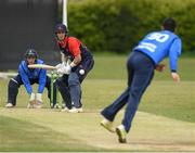 4 May 2021; Mark Adair of Northern Knights plays a shot during the Inter-Provincial Cup 2021 match between Leinster Lightning and Northern Knights at Pembroke Cricket Club in Dublin.  Photo by Matt Browne/Sportsfile