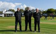 1 May 2021; Match officials, from left, umpire Aidan Seaver, referee Kevin Gallagher and umpire Alan Neill before the Inter-Provincial Cup 2021 match between Leinster Lightning and North West Warriors at Pembroke Cricket Club in Dublin. Photo by Brendan Moran/Sportsfile