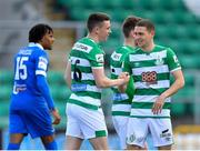 3 May 2021; Gary O'Neill of Shamrock Rovers, left, is congratulated by team-mate Max Murphy after scoring their side's second goal during the SSE Airtricity League Premier Division match between Shamrock Rovers and Waterford at Tallaght Stadium in Dublin. Photo by Seb Daly/Sportsfile