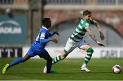 3 May 2021; Lee Grace of Shamrock Rovers in action against Katlego Mashigo of Waterford during the SSE Airtricity League Premier Division match between Shamrock Rovers and Waterford at Tallaght Stadium in Dublin. Photo by Seb Daly/Sportsfile