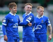 3 May 2021; Waterford players, from left, Niall O'Keeffe, Darragh Power and James Waite during the SSE Airtricity League Premier Division match between Shamrock Rovers and Waterford at Tallaght Stadium in Dublin. Photo by Seb Daly/Sportsfile