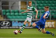 3 May 2021; Rory Gaffney of Shamrock Rovers in action against Cameron Evans of Waterford during the SSE Airtricity League Premier Division match between Shamrock Rovers and Waterford at Tallaght Stadium in Dublin. Photo by Seb Daly/Sportsfile