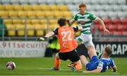 3 May 2021; Rory Gaffney of Shamrock Rovers in action against Paul Martin, left, and Cameron Evans of Waterford during the SSE Airtricity League Premier Division match between Shamrock Rovers and Waterford at Tallaght Stadium in Dublin. Photo by Seb Daly/Sportsfile