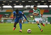3 May 2021; Aaron Greene of Shamrock Rovers in action against Tunmise Sobowale of Waterford during the SSE Airtricity League Premier Division match between Shamrock Rovers and Waterford at Tallaght Stadium in Dublin. Photo by Seb Daly/Sportsfile