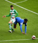 3 May 2021; Danny Mandroiu of Shamrock Rovers in action against Tunmise Sobowale of Waterford during the SSE Airtricity League Premier Division match between Shamrock Rovers and Waterford at Tallaght Stadium in Dublin. Photo by Seb Daly/Sportsfile