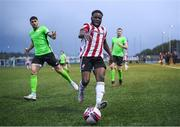 3 May 2021; James Akintunde of Derry City in action against Kosovar Sadiki of Finn Harps during the SSE Airtricity League Premier Division match between Derry City and Finn Harps at the Ryan McBride Brandywell Stadium in Derry. Photo by Stephen McCarthy/Sportsfile