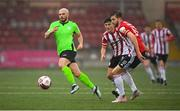 3 May 2021; Mark Coyle of Finn Harps in action against Brendan Barr and Will Patching, right, of Derry City during the SSE Airtricity League Premier Division match between Derry City and Finn Harps at the Ryan McBride Brandywell Stadium in Derry. Photo by Stephen McCarthy/Sportsfile
