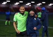 3 May 2021; Finn Harps coach Alan Henry, right, and Ethan Boyle celebrate following the SSE Airtricity League Premier Division match between Derry City and Finn Harps at the Ryan McBride Brandywell Stadium in Derry. Photo by Stephen McCarthy/Sportsfile