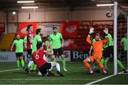 3 May 2021; Eoin Toal of Derry City has a late opportunity on goal during the SSE Airtricity League Premier Division match between Derry City and Finn Harps at the Ryan McBride Brandywell Stadium in Derry. Photo by Stephen McCarthy/Sportsfile