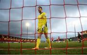 3 May 2021; Derry City goalkeeper Nathan Gartside reacts after conceding their opening goal during the SSE Airtricity League Premier Division match between Derry City and Finn Harps at the Ryan McBride Brandywell Stadium in Derry. Photo by Stephen McCarthy/Sportsfile