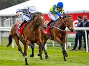 6 May 2021; Japan, with Ryan Moore up, left, on their way to winning the The tote+ Pays You More At tote.co.uk Ormonde Stakes ahead of Trueshan, with Hollie Doyle up at Chester Racecourse, England. Photo by Hugh Routledge/Sportsfile
