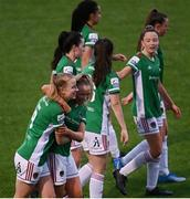 1 May 2021; Christina Dring of Cork City is congratulated by Lauren Singleton, right, after scoring her side's second goal during the SSE Airtricity Women's National League match between Athlone Town and Cork City at Athlone Town Stadium in Athlone, Westmeath. Photo by Ramsey Cardy/Sportsfile