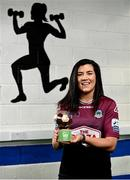 11 May 2021; Rachel Kearns of Galway WFC is presented with her SSE Airtricity Women's National League Player of the Month Award for April 2021 at North West Fitness Academy in Crossmolina, Mayo. Photo by Harry Murphy/Sportsfile